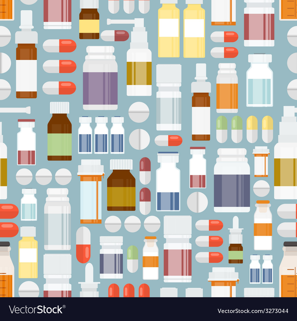Pills and drugs in seamless pattern vector | Price: 1 Credit (USD $1)