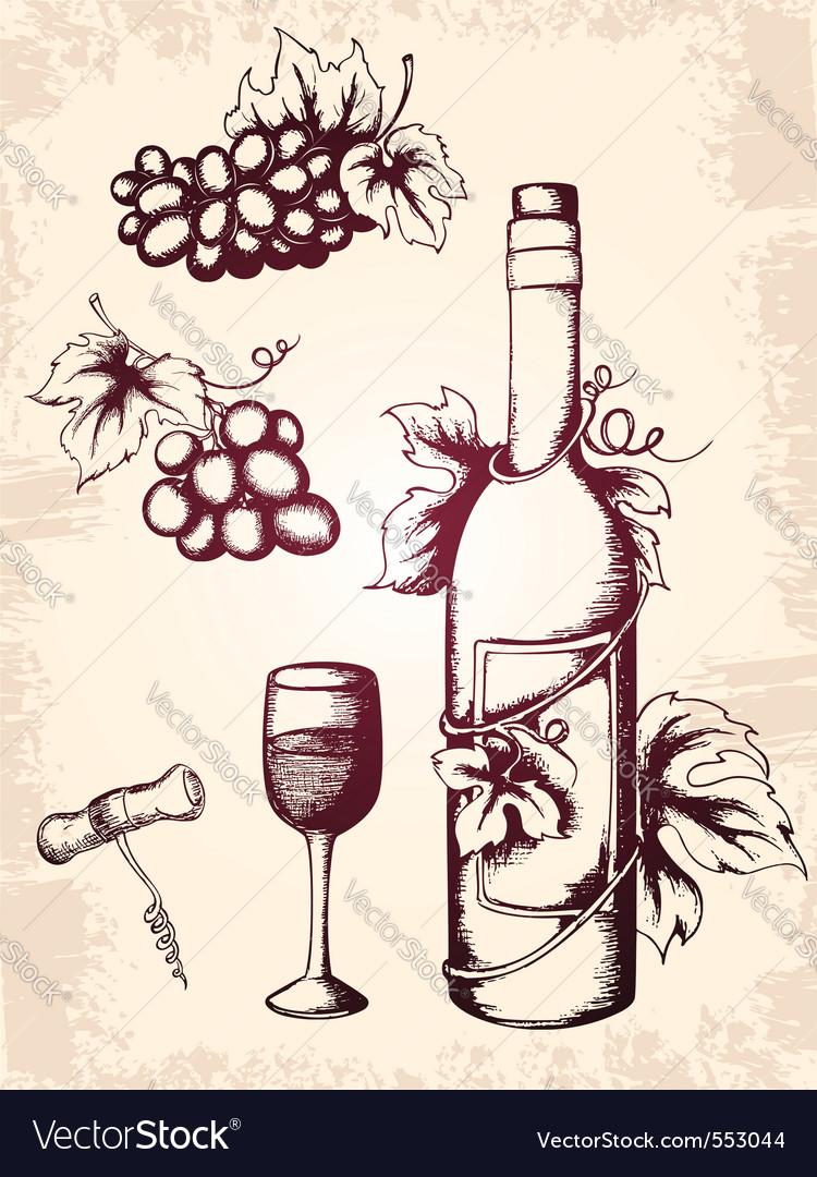 Rawn vector vintage wine icons vector | Price: 1 Credit (USD $1)