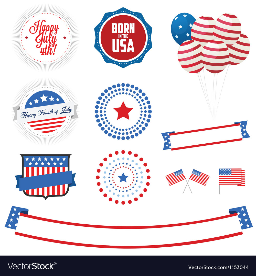 Set of independence day design elements vector | Price: 1 Credit (USD $1)