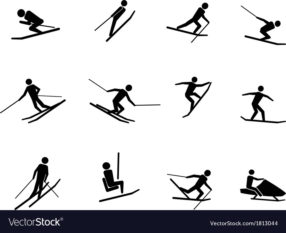 Ski icons set vector | Price: 1 Credit (USD $1)