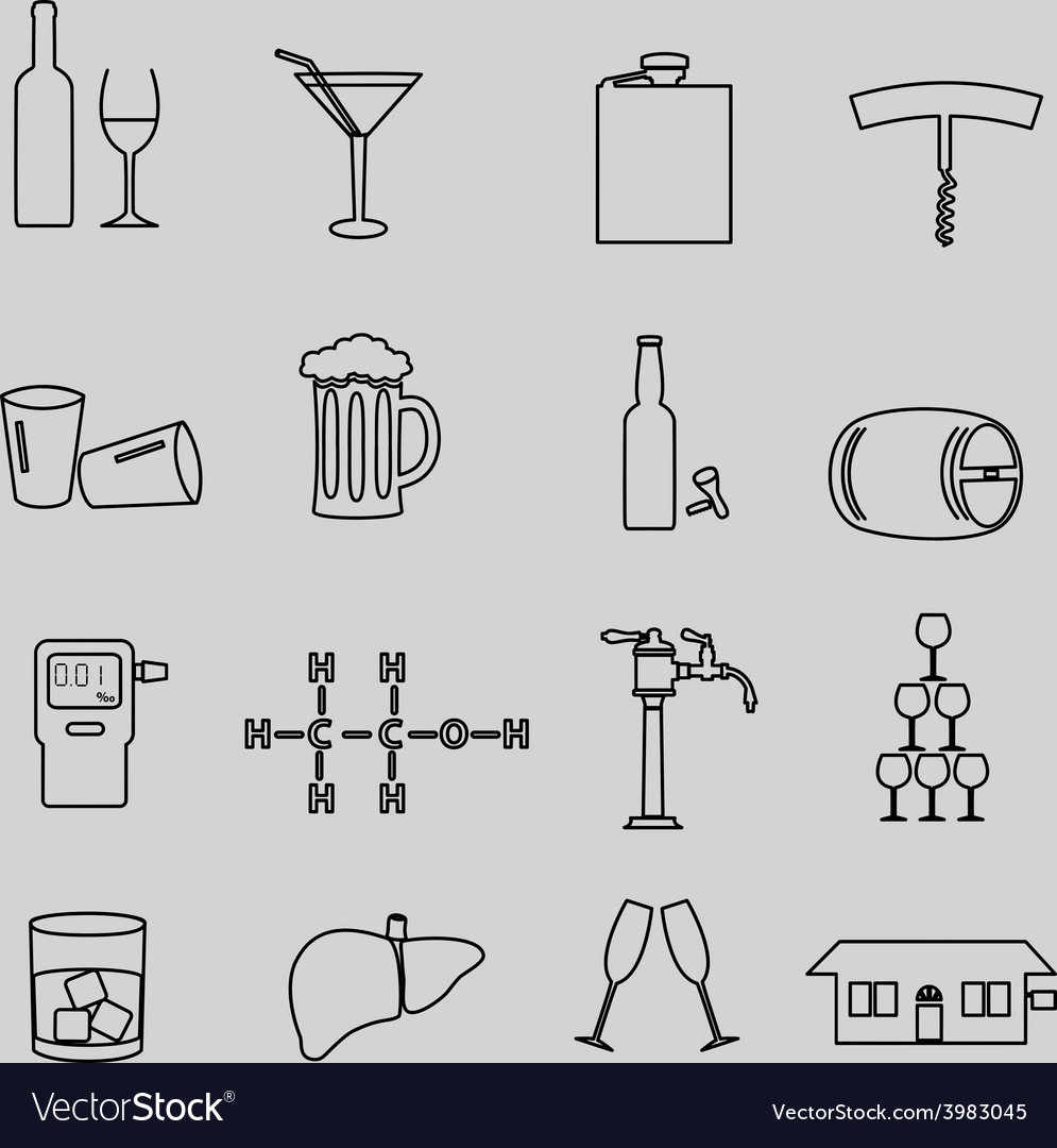 Alcohol simple outline black icons set eps10 vector | Price: 1 Credit (USD $1)