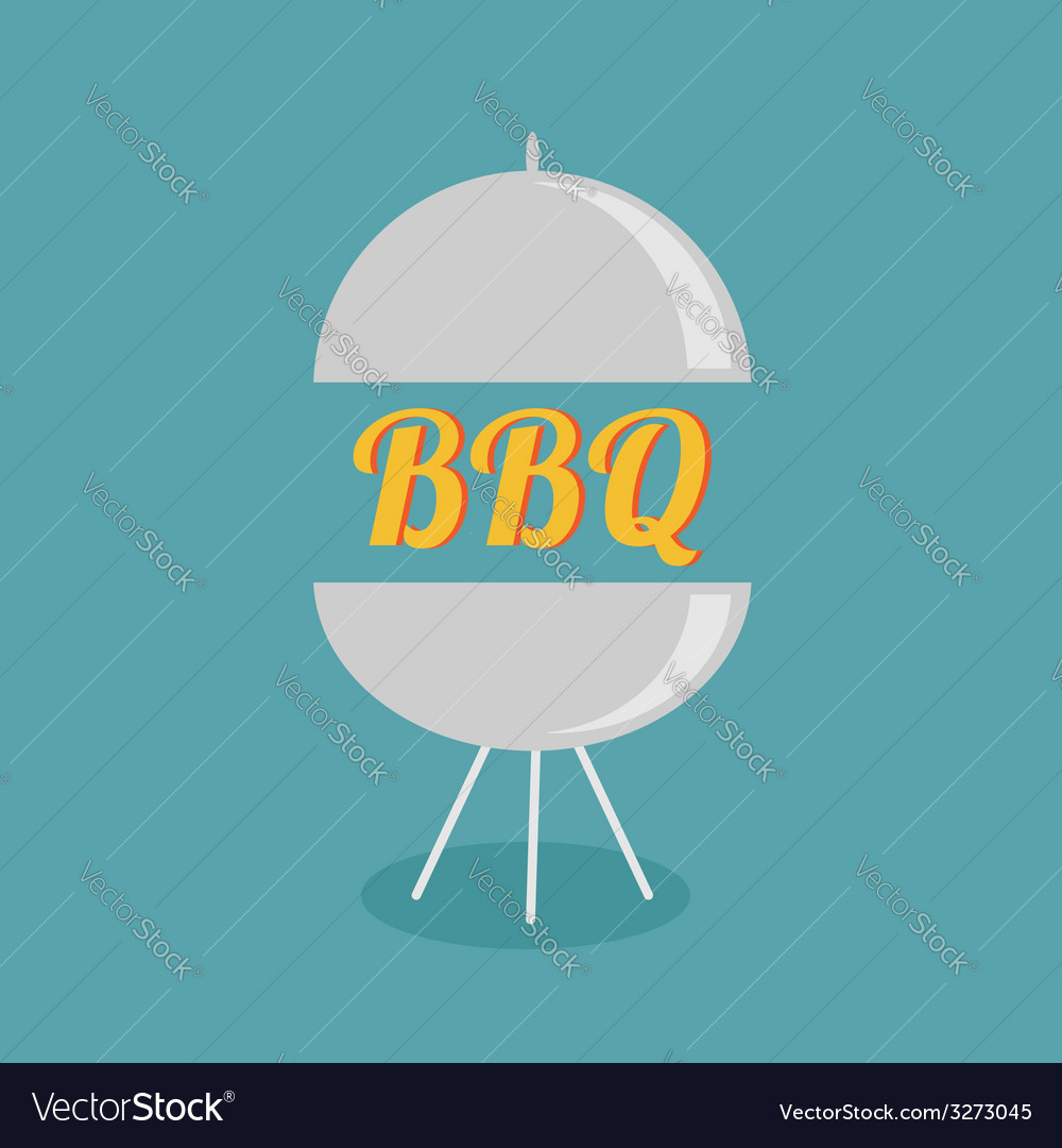 Bbq grill party invitation card flat design icon vector | Price: 1 Credit (USD $1)