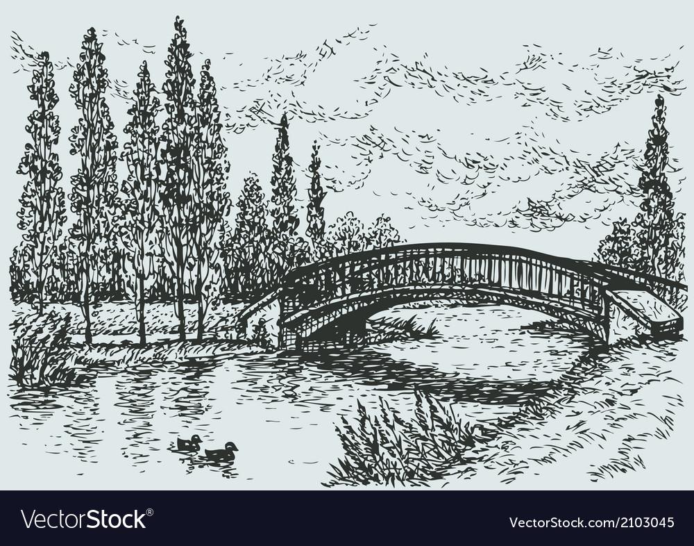 Bridge over river vector | Price: 1 Credit (USD $1)