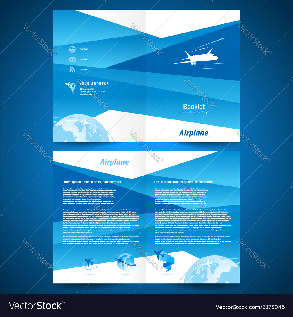 Brochure folder airplane flight transportation vector | Price: 1 Credit (USD $1)