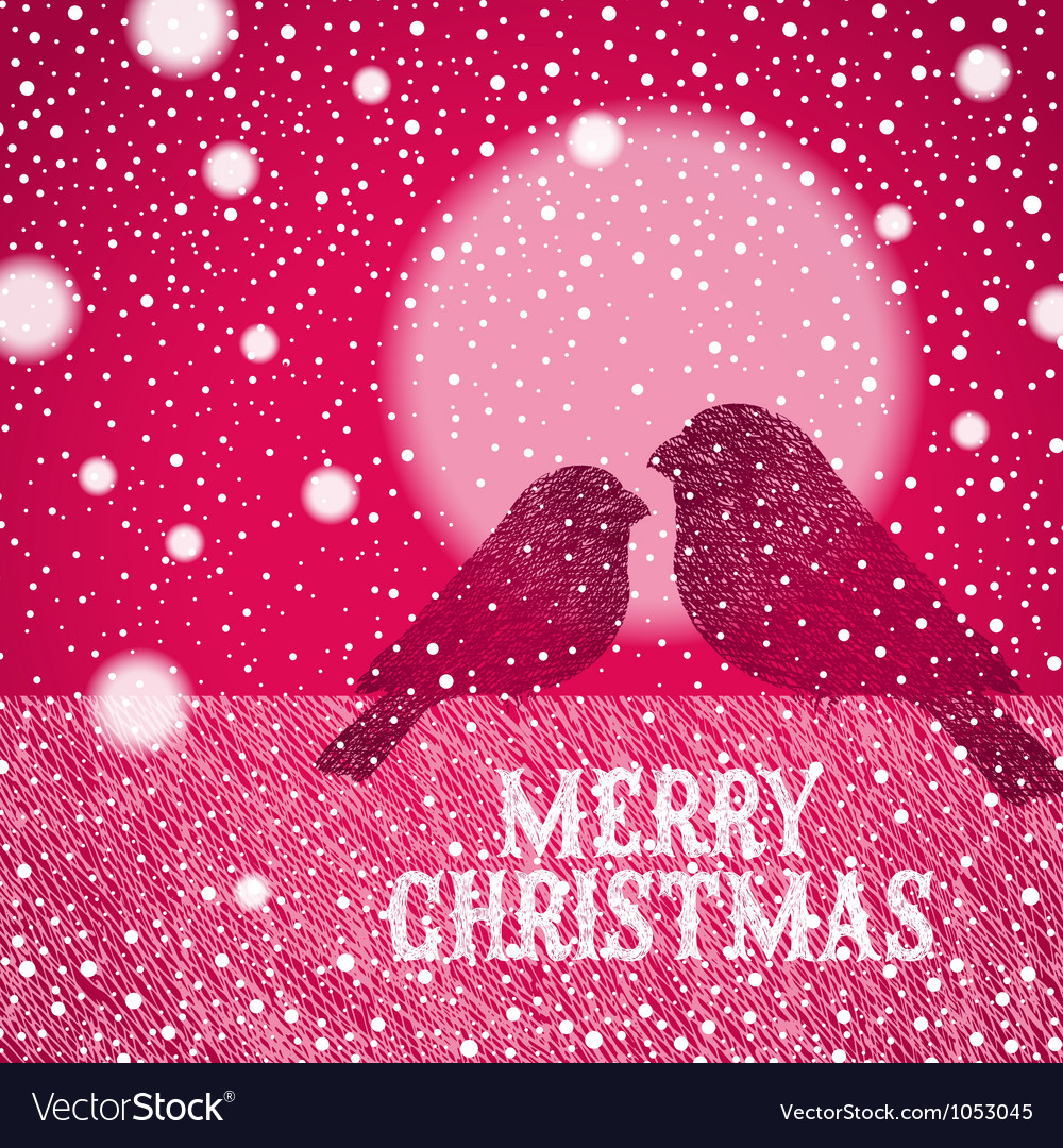 Christmas hand drawn bullfinches vector | Price: 1 Credit (USD $1)