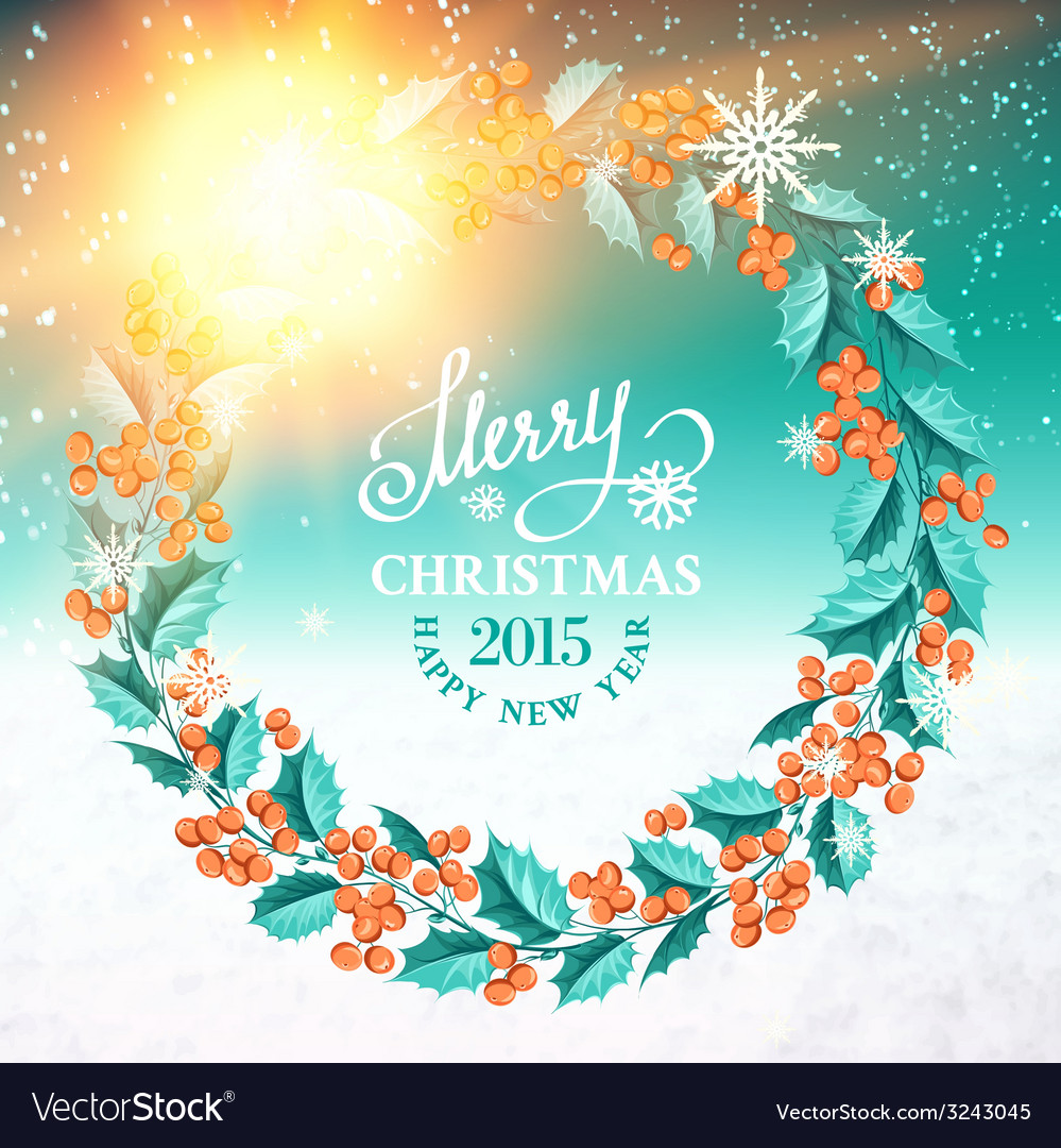 Christmas mistletoe wreath vector | Price: 1 Credit (USD $1)