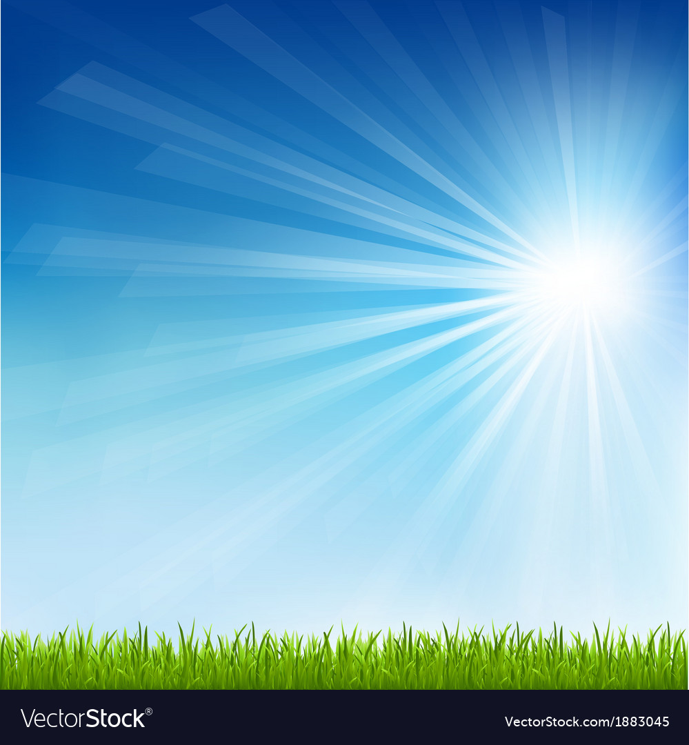 Green grass and sun beam vector | Price: 1 Credit (USD $1)