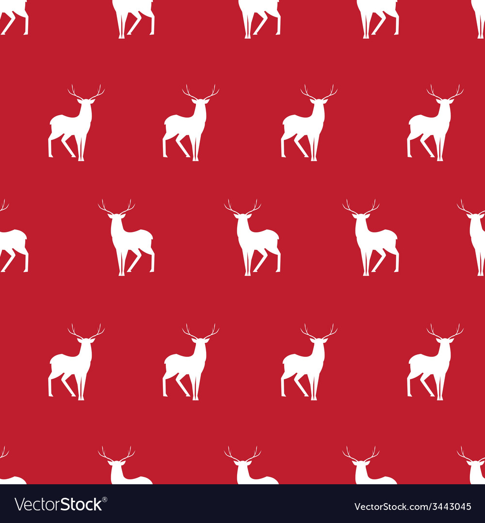 Red deer minimalistic silhouette seamless pattern vector | Price: 1 Credit (USD $1)