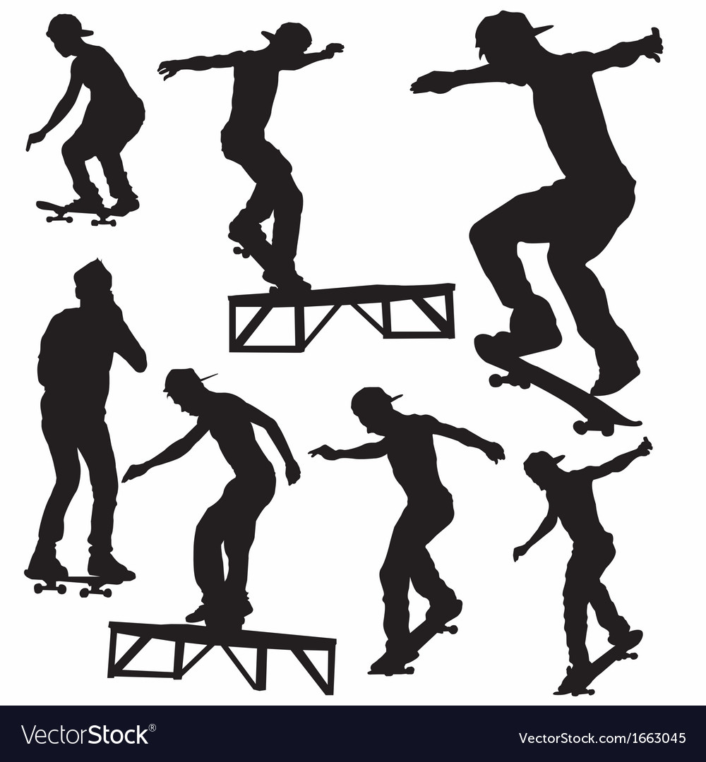 Skateboard silhouette vector | Price: 1 Credit (USD $1)