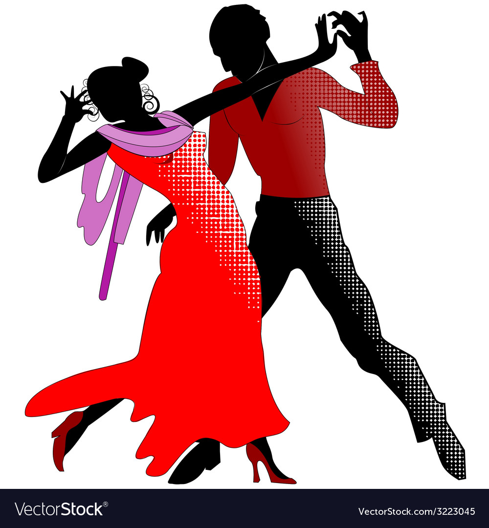 Tango silhouettes in red vector | Price: 1 Credit (USD $1)