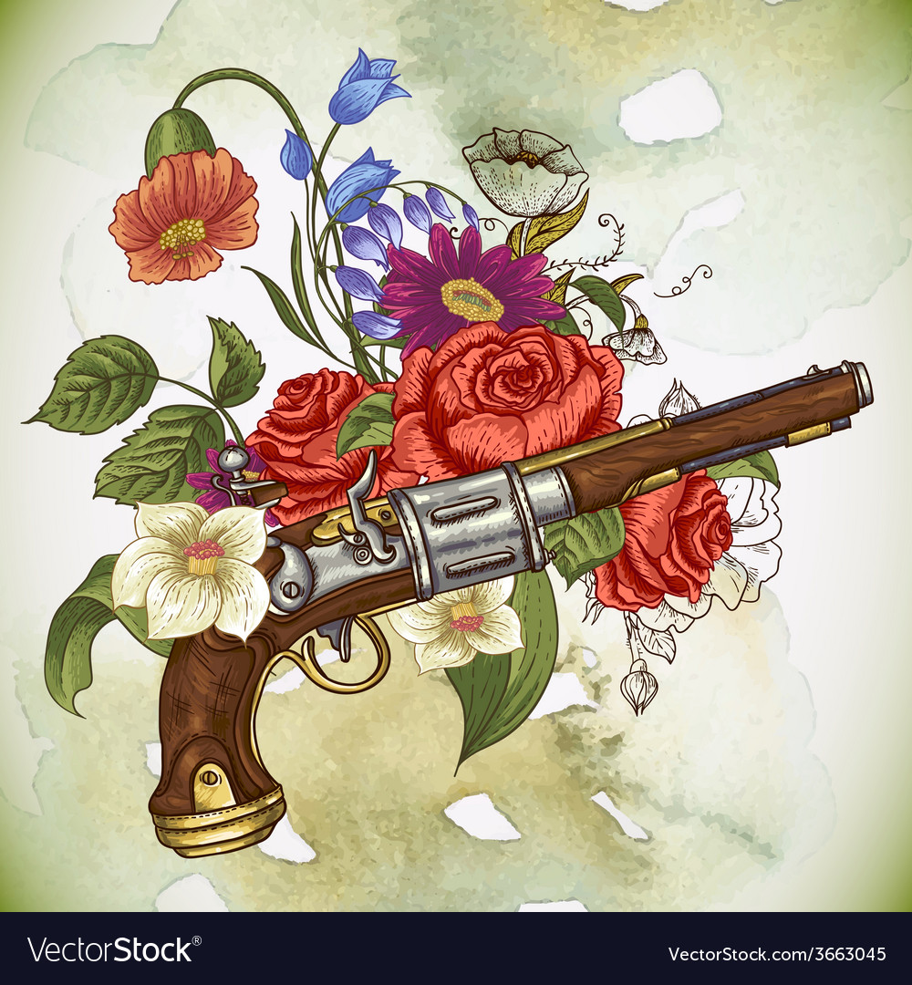 Vintage card with a gun and flowers vector | Price: 1 Credit (USD $1)