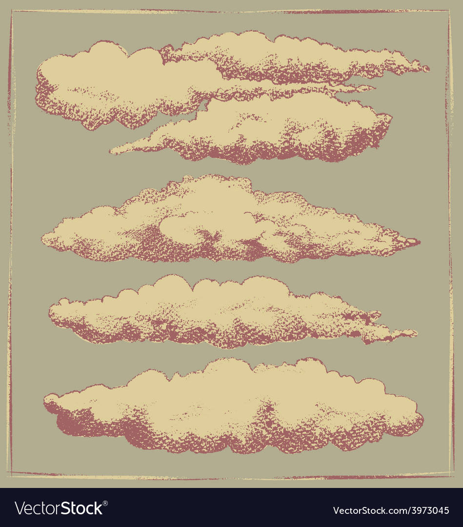Vintage cloud background design vector | Price: 1 Credit (USD $1)