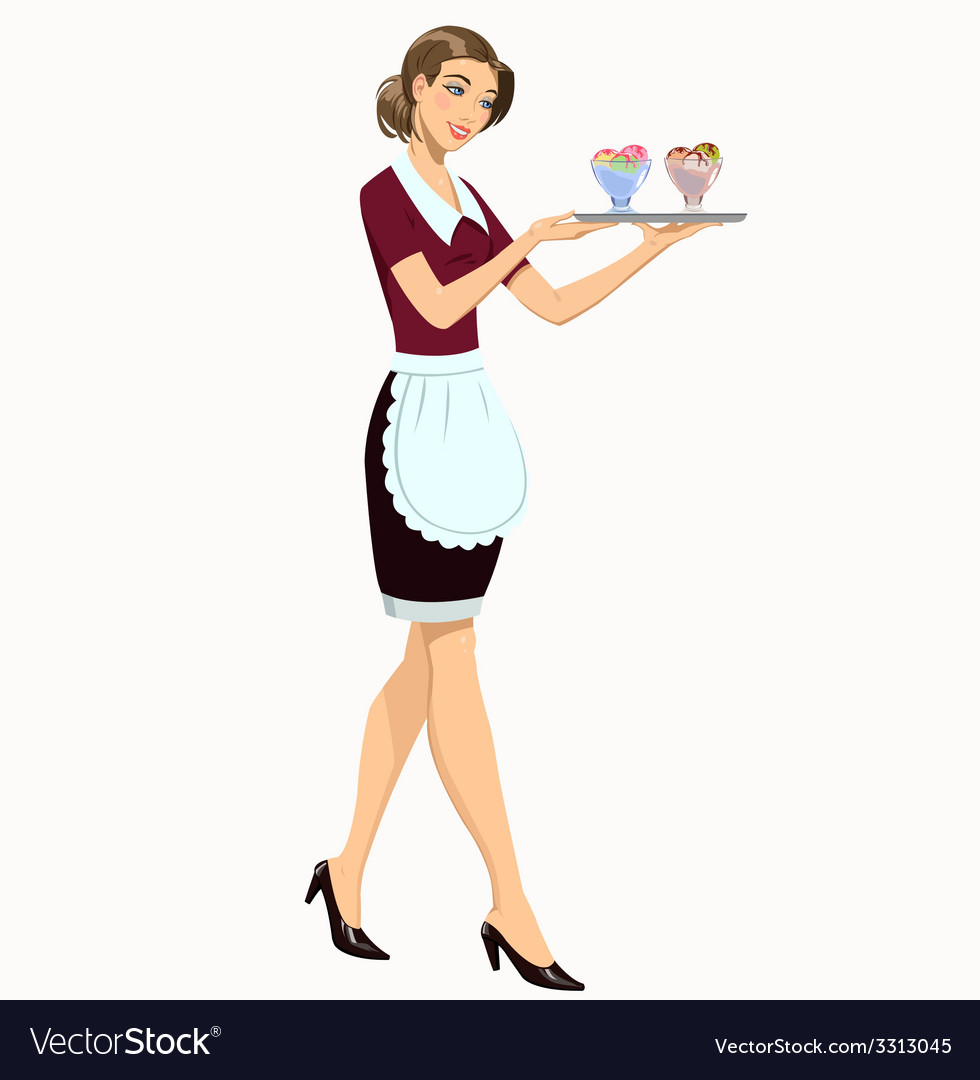 Waitress with ice cream vector | Price: 1 Credit (USD $1)