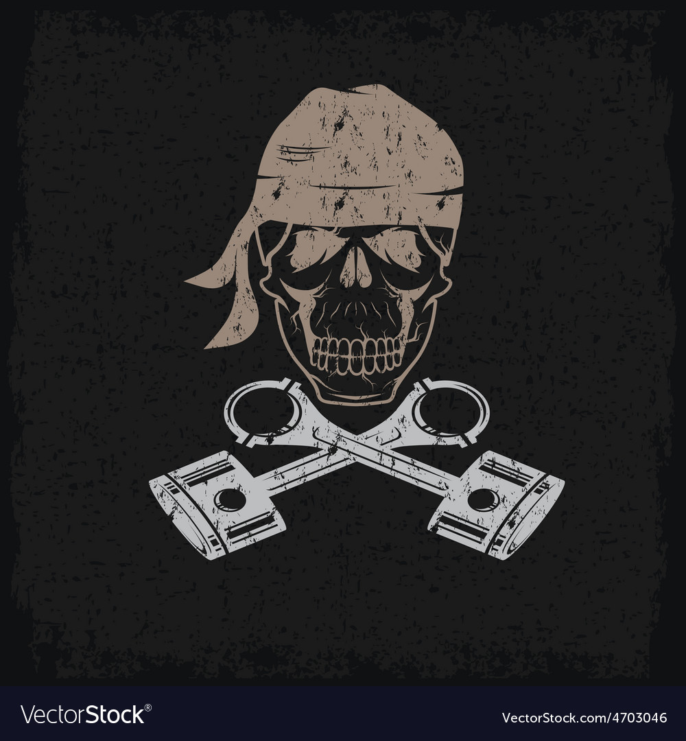Biker theme grunge label with skull and pistons vector | Price: 1 Credit (USD $1)