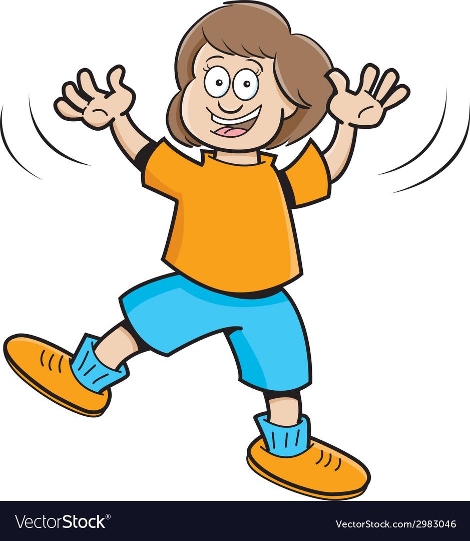Cartoon jumping girl vector | Price: 1 Credit (USD $1)