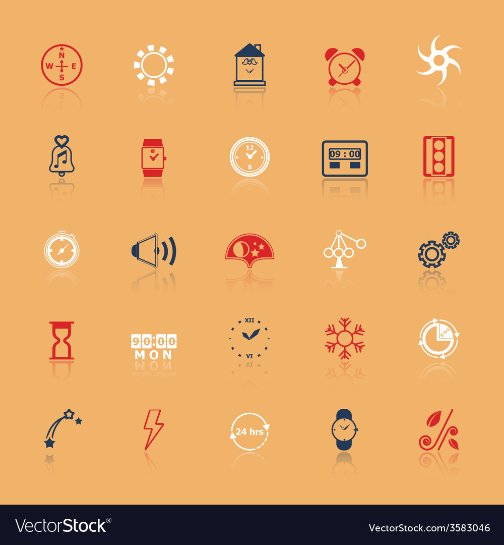 Design time and direction line icons flat color vector | Price: 1 Credit (USD $1)