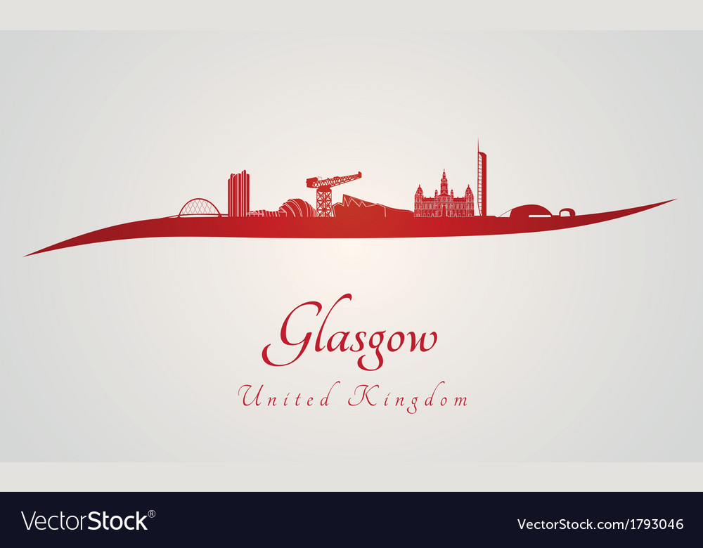 Glasgow skyline in red vector | Price: 1 Credit (USD $1)