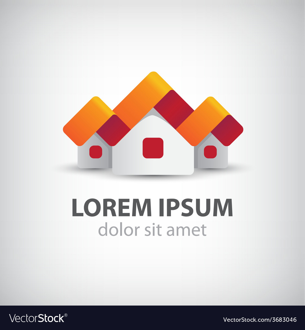 Houses origami paper icon logo isolated vector | Price: 1 Credit (USD $1)