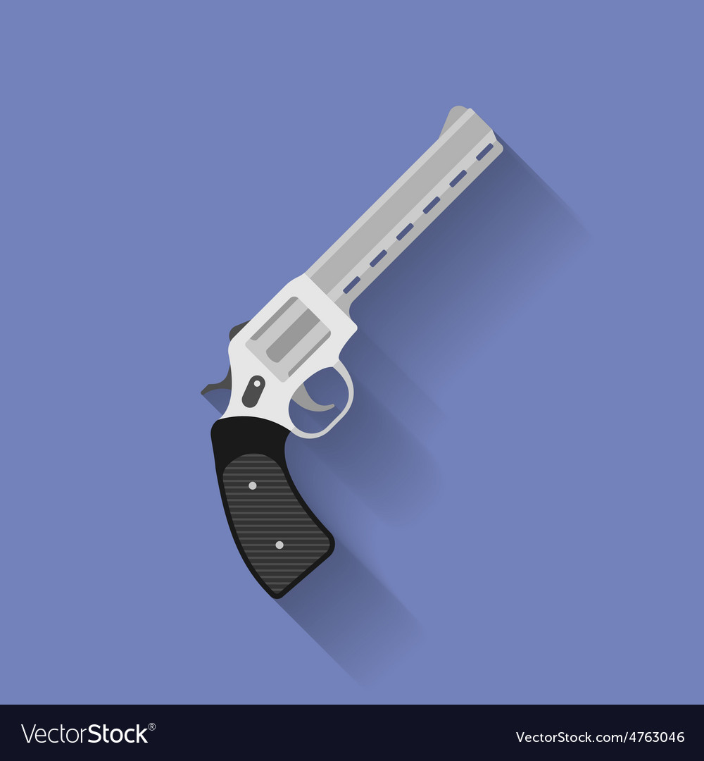 Icon of revolver pistol gun flat style vector | Price: 1 Credit (USD $1)