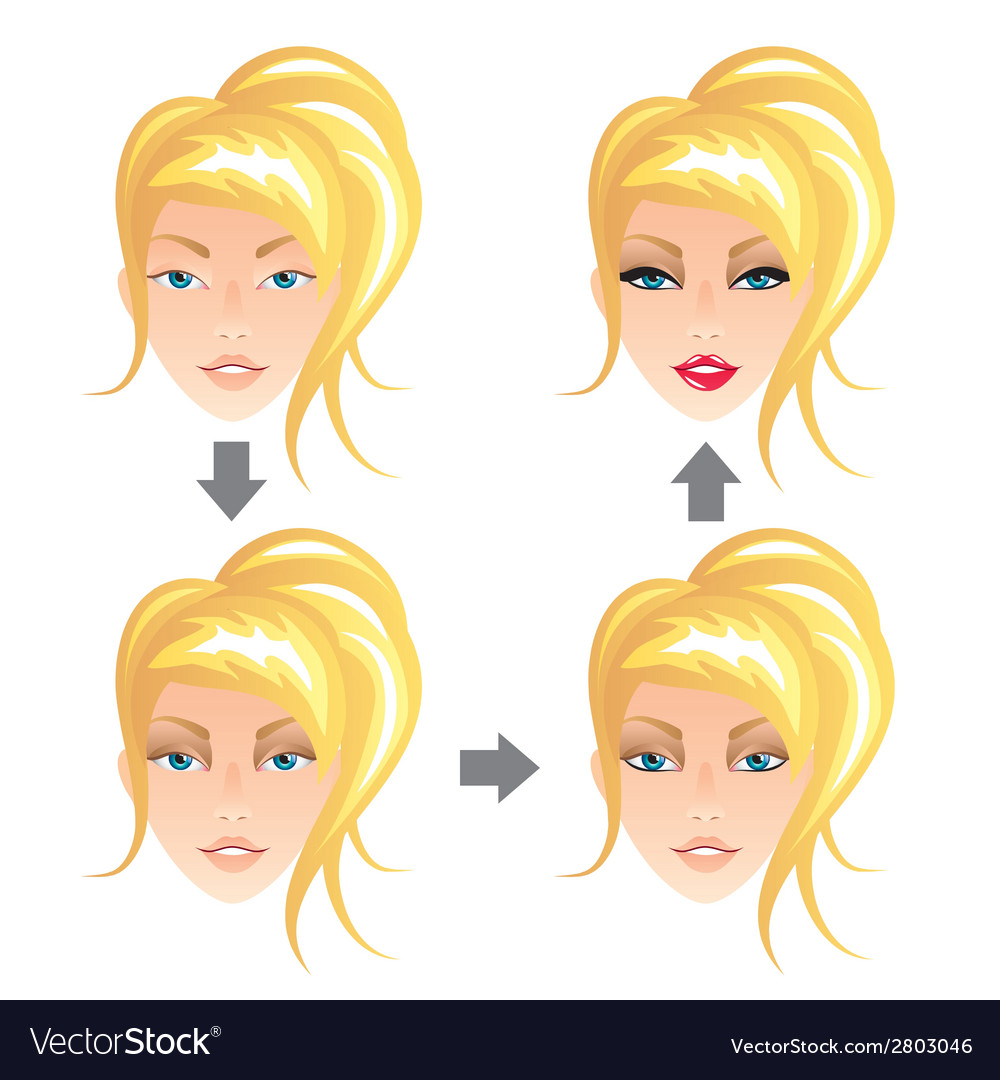 Make up stages blonde girl vector | Price: 1 Credit (USD $1)