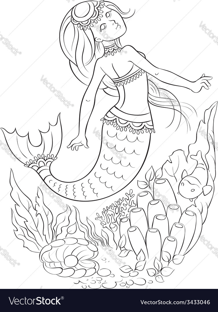 Mermaid swimming in the ocean outlined vector | Price: 1 Credit (USD $1)