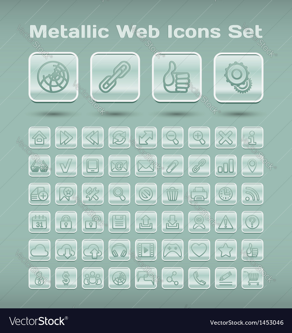 Metallic web icons set vector | Price: 1 Credit (USD $1)