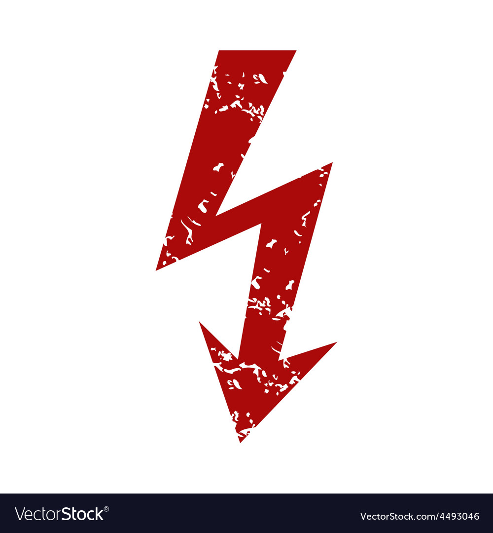 Red grunge lightning logo vector | Price: 1 Credit (USD $1)