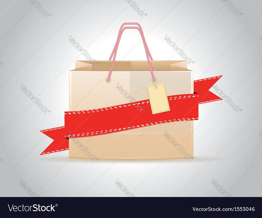 Shopping bag with ribbon vector | Price: 1 Credit (USD $1)
