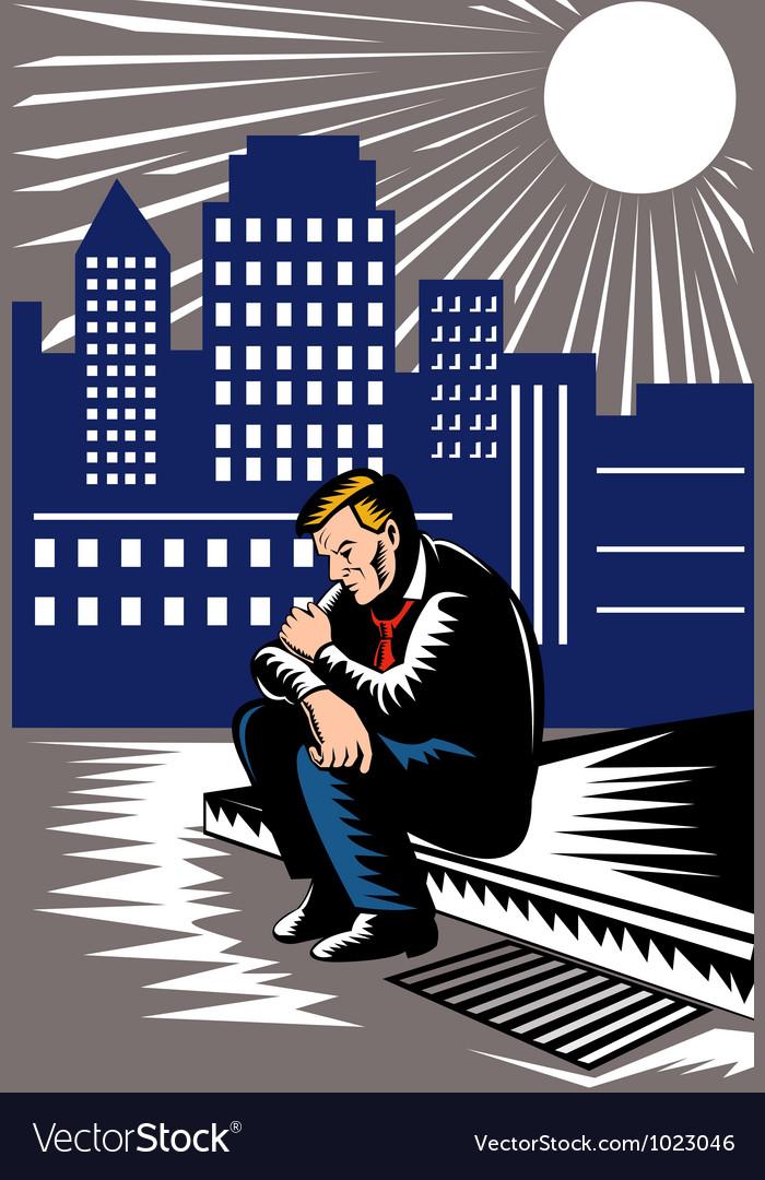 Unemployed male worker sidewalk vector   Price: 1 Credit (USD $1)