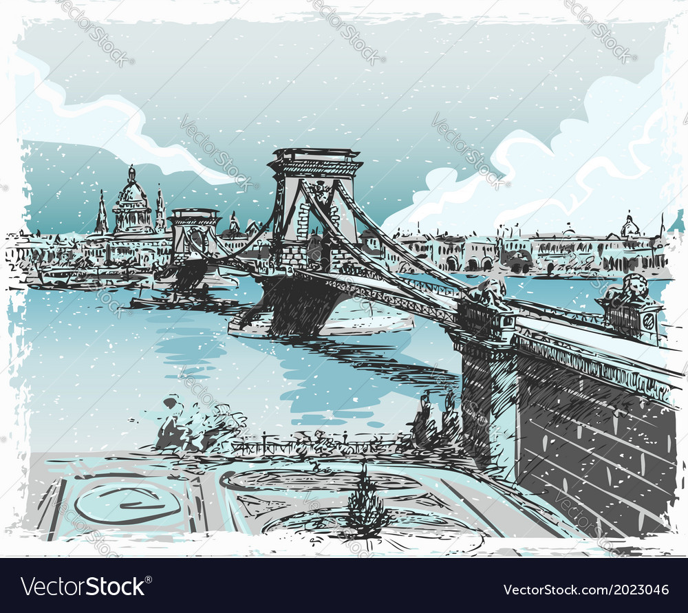 Vintage hand drawn view of lions bridge in vector | Price: 1 Credit (USD $1)