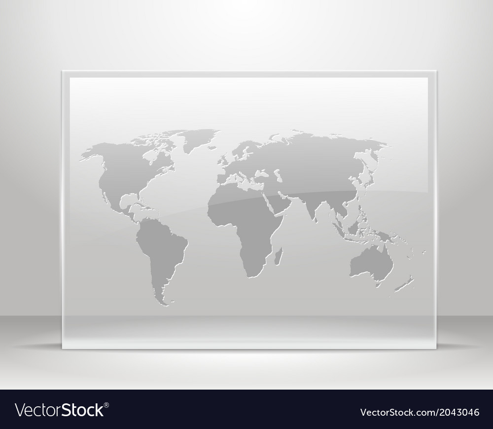 World map on glass frame vector | Price: 1 Credit (USD $1)