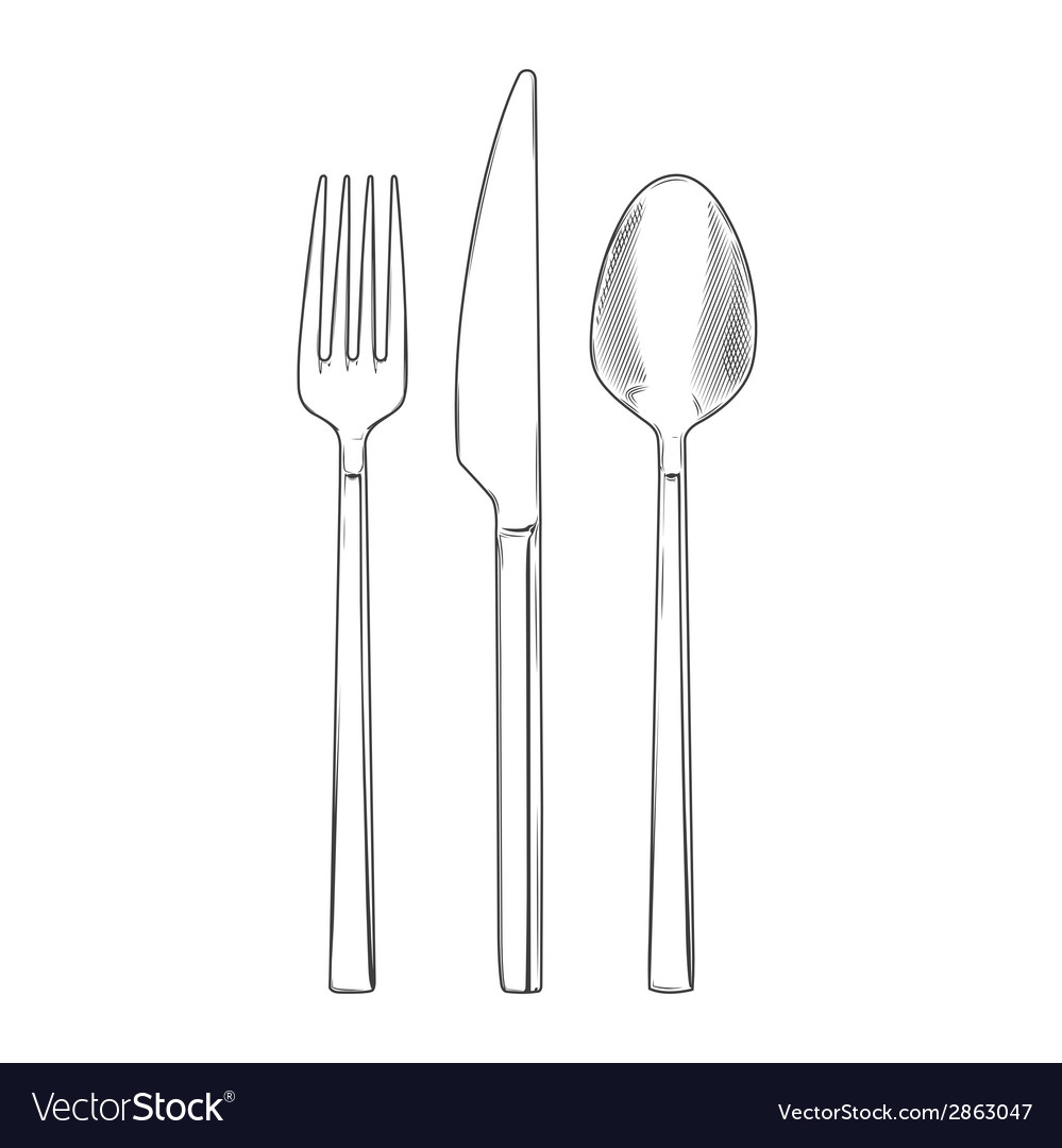 Cutlery set of fork knife and spoon vector | Price: 1 Credit (USD $1)