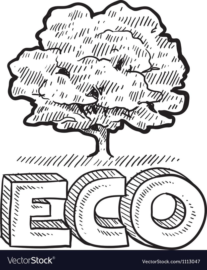 Doodle eco tree vector | Price: 1 Credit (USD $1)