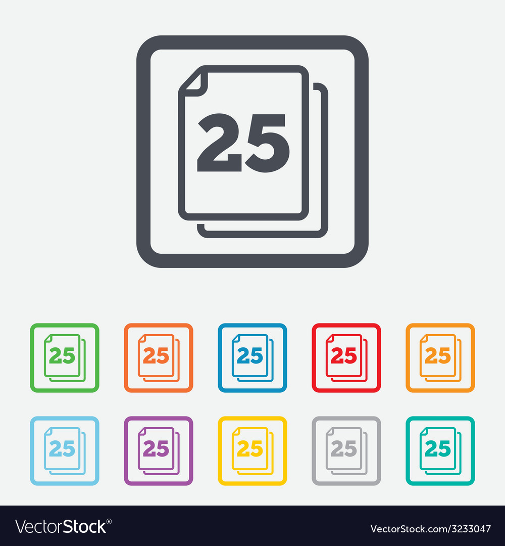 In pack 25 sheets sign icon 25 papers symbol vector | Price: 1 Credit (USD $1)