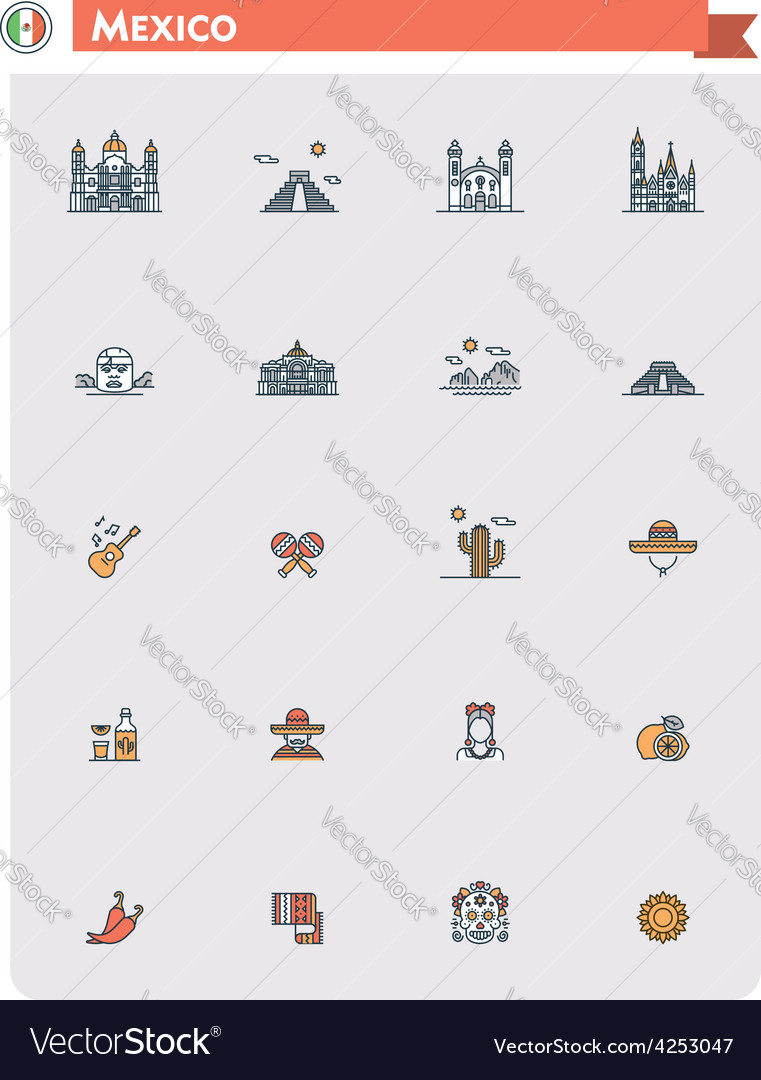 Mexico travel icon set vector | Price: 1 Credit (USD $1)