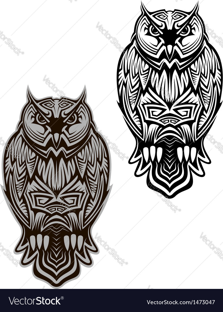Owl bird tattoo vector | Price: 1 Credit (USD $1)