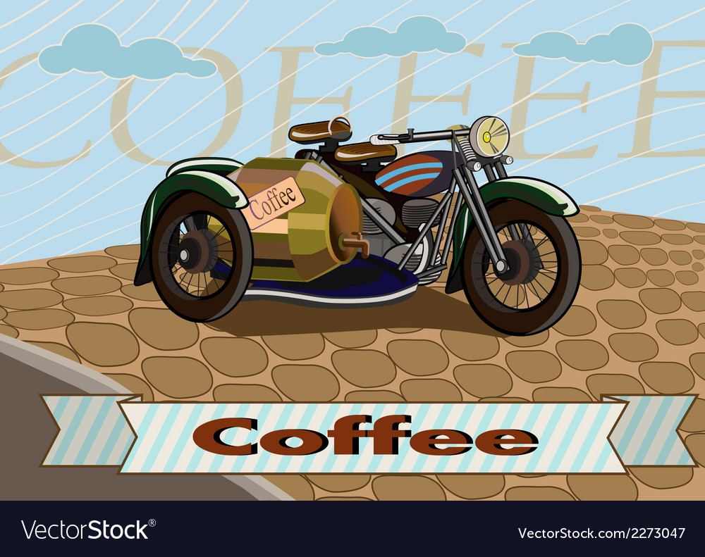 Retro banner with a cup of coffee and motorcycle vector | Price: 1 Credit (USD $1)