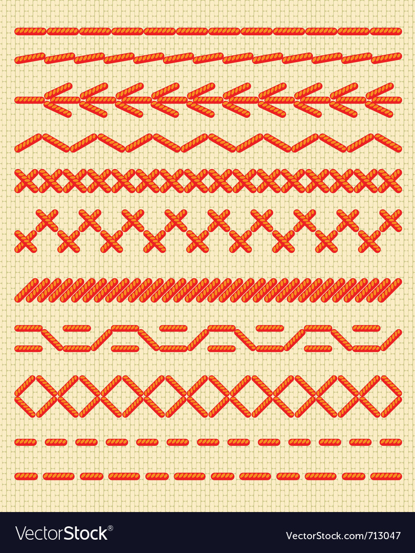 Sewing stitches patterns vector | Price: 1 Credit (USD $1)