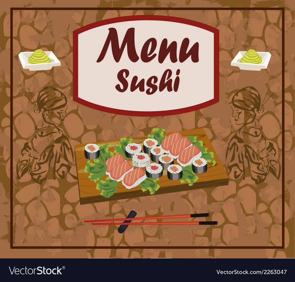 Sushi meal taditsionnaya east china japan korea vector | Price: 1 Credit (USD $1)