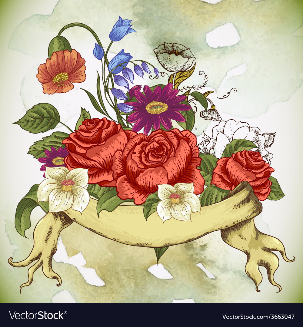 Vintage floral card with roses and wild flowers vector | Price: 1 Credit (USD $1)