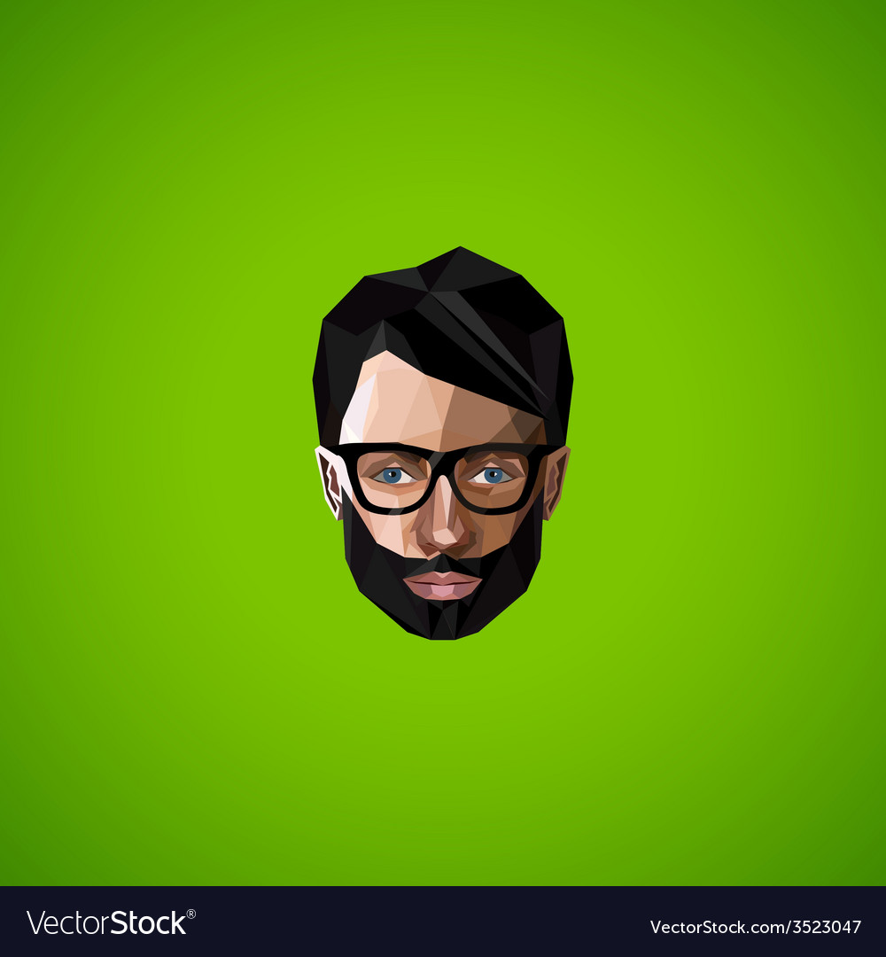 With caucasian man face in polygonal style beauty vector | Price: 1 Credit (USD $1)