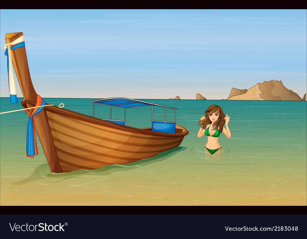 A girl near the wooden boat vector | Price: 1 Credit (USD $1)
