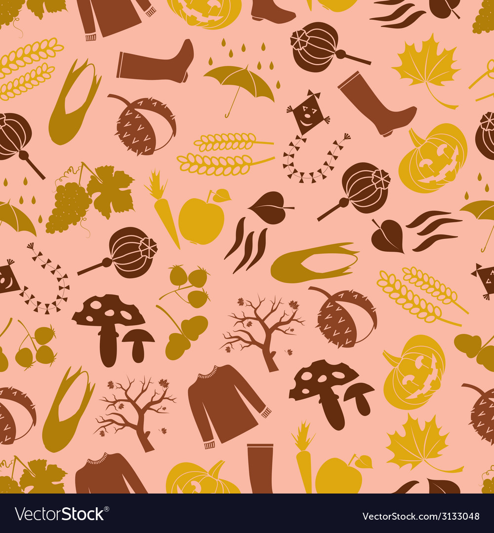 Autumn color icons seamless pattern eps10 vector | Price: 1 Credit (USD $1)