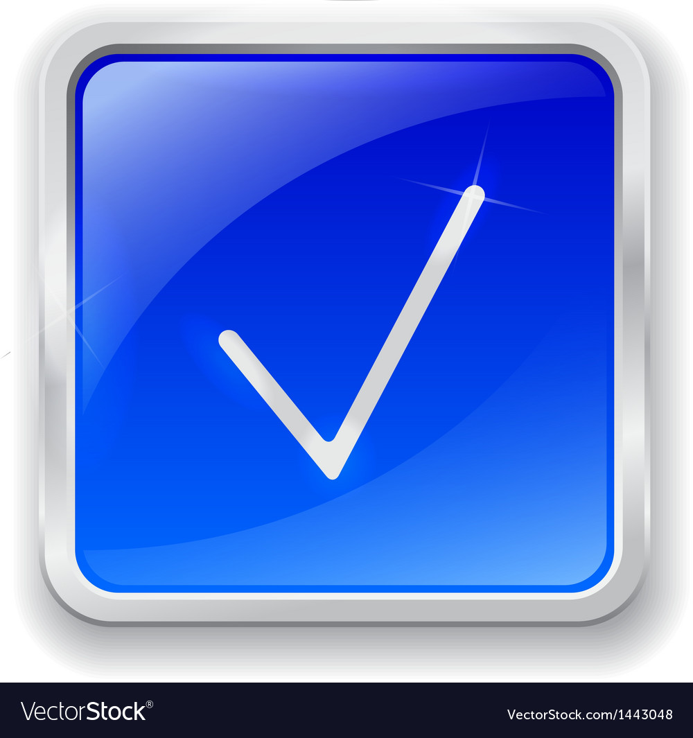 Check mark icon on blue button vector | Price: 1 Credit (USD $1)