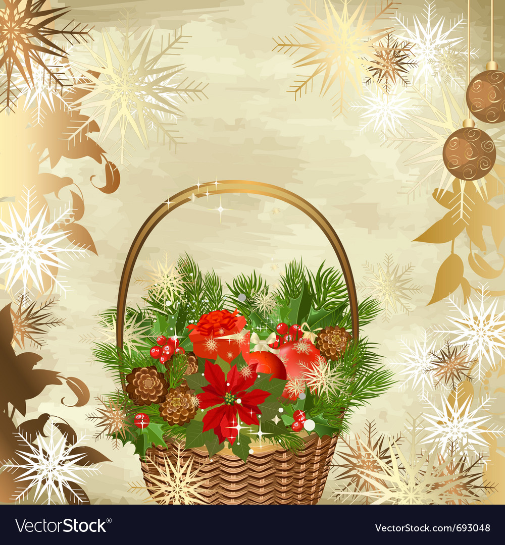 Christmas decoration basket vector | Price: 1 Credit (USD $1)