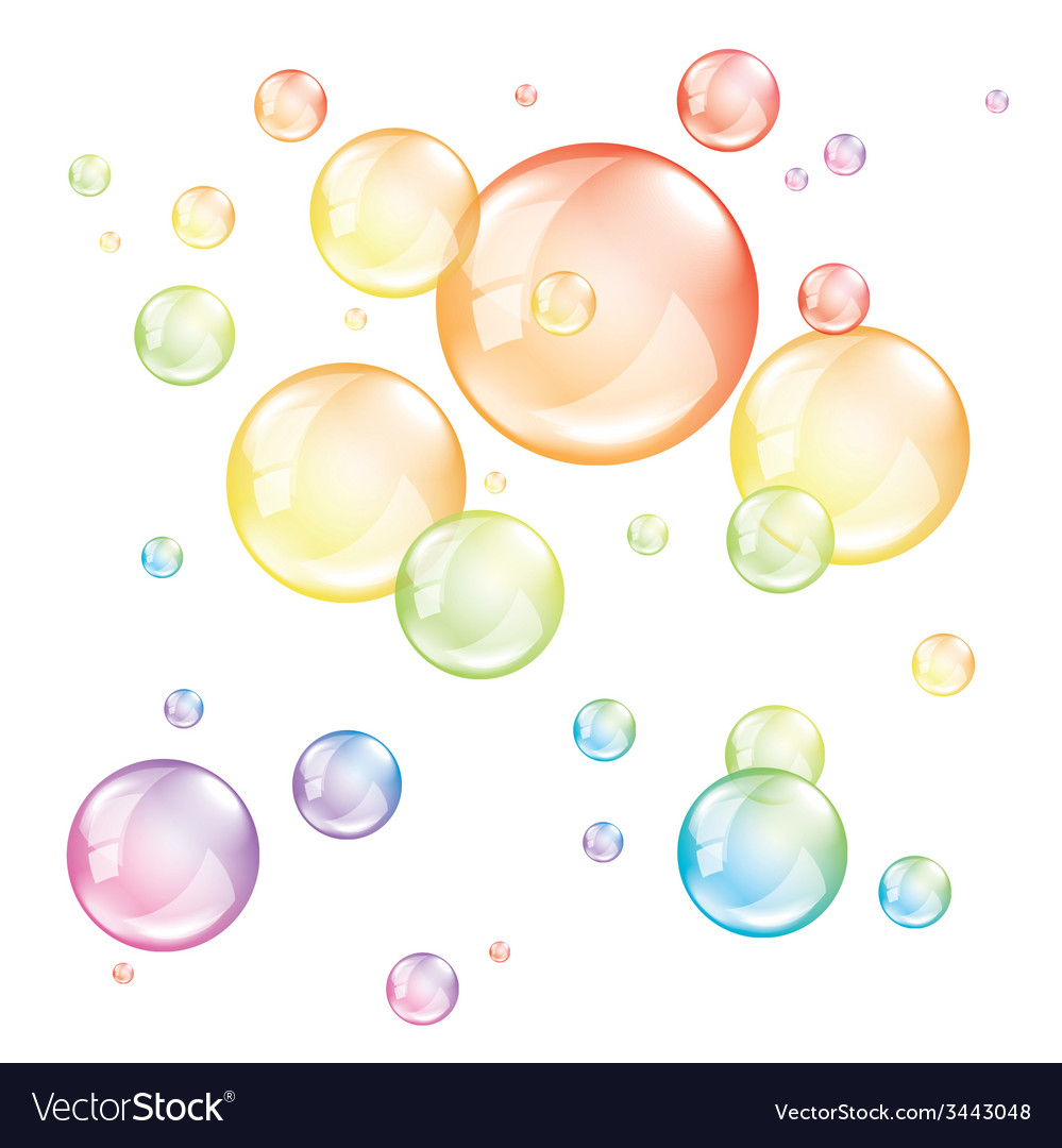 Colored transparent bubbles isolated vector | Price: 1 Credit (USD $1)