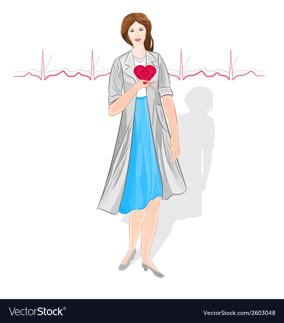 Female doctor of cardiology vector | Price: 1 Credit (USD $1)