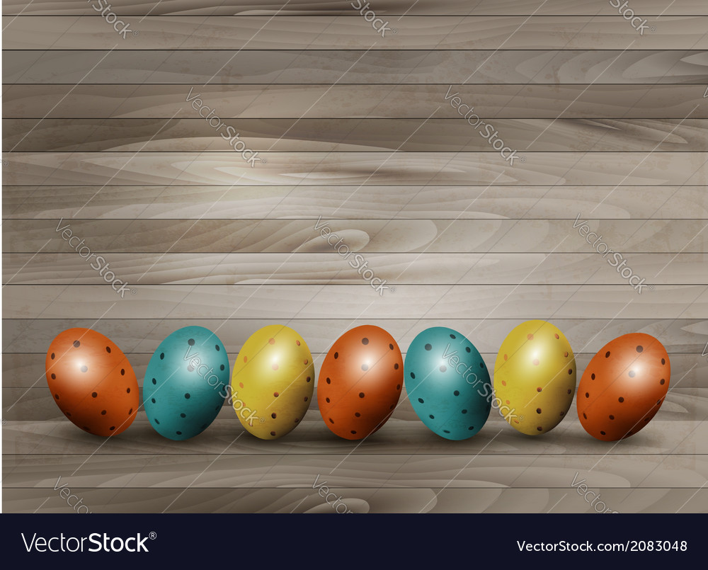 Holiday easter eggs on wooden background vector | Price: 1 Credit (USD $1)