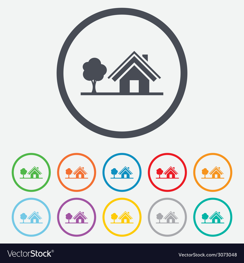 Home sign icon house with tree symbol vector | Price: 1 Credit (USD $1)