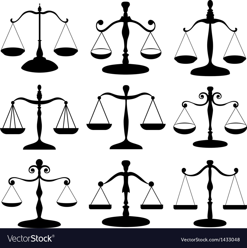Law scale symbol set vector | Price: 1 Credit (USD $1)